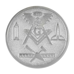 All Seeing Eye Square & Compass Working Tools Masonic Coin - [Silver][1 1/4'' Diameter]