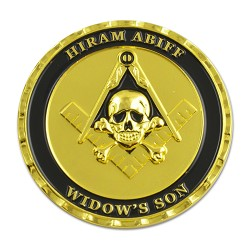 Hiram Abiff Widow's Son Masonic Coin - [Black & Gold][1 3/4'' Diameter]