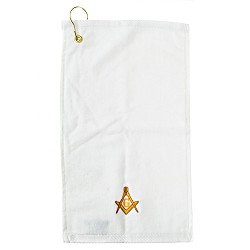Gold Square & Compass Embroidered Masonic Golf Towel