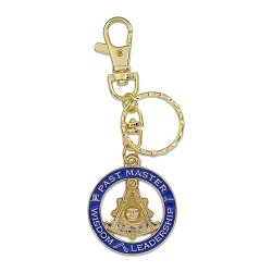 Past Master Wisdom Leadership Round Masonic Key Chain - [Blue & Gold][1 1/2'' Diameter]