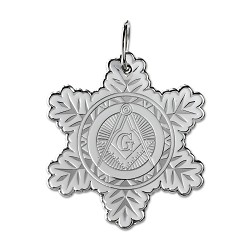 Snowflake Square & Compass Masonic Ornament - [White & Silver][2 1/2'' Tall]