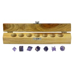 Platonic Solids Amethyst 7 Piece Sacred Geometry Set with Gift Wood Box