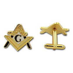 "Entered Apprentice Square & Compass White & Gold Masonic Cuff Link Pair - [1"" Tall]"