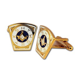 Royal Arch Mark Keystone Masonic Cuff Link Pair - [Gold & White][3/4'' Tall]