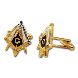 Working Tools Square & Compass Masonic Cuff Link Pair - [Blue & White][1'' Tall]