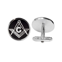 "Square & Compass Round Masonic Cuff Link Pair - [Silver & Black][3/4"" Diameter]"