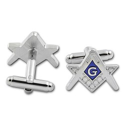 Square & Compass Masonic Cuff Link Pair - [Silver & Blue][3/4'' Wide]