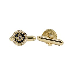 Square & Compass with Rhinestones Masonic Cuff Link Pair - [Gold & Black][3/8'' Diameter]