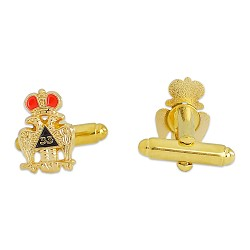 33rd Degree Crowned Double Headed Eagle Masonic Cuff Link Pair - [Gold][1/2'' Tall]