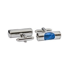 Blue Level Cuff Link Pair - [Silver][1'' Wide]