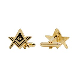 "Square & Compass Masonic Cuff Link Pair - [Gold & Black][3/4"" Wide]"
