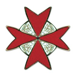 Maltese Cross Masonic Lapel Pin - [Gold & Red][7/8'' Tall]