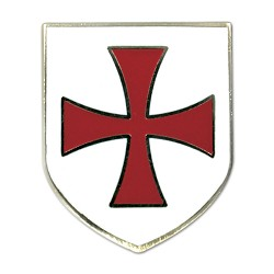 Knights Templar Crusader Red Cross White Shield Masonic Lapel Pin - [White & Red][1'' Tall]