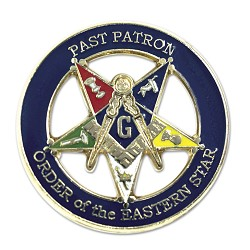 "Past Patron Order of the Eastern Star Round Masonic Lapel Pin - [Blue & Gold][1"" Diameter]"