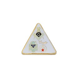 Square & Compass 32nd Degree Shriner Triangle Masonic Lapel Pin - [White & Gold][5/8'' Tall]