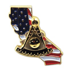 "Past Master California American Flag Masonic Lapel Pin - [3/4"" Tall]"