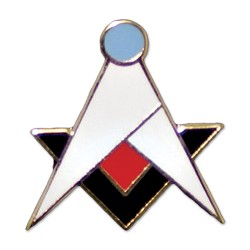 Retro New Age Square & Compass Masonic Lapel Pin - [White & Black][1'' Tall]