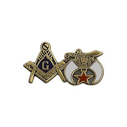 Square & Compass and Shriner Masonic Lapel Pin - [Gold & White][1'' Wide]