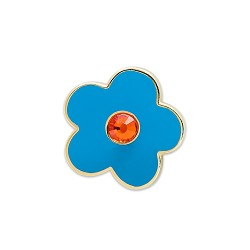 "Forget Me Not Blue Flower with Rhinestone Blue Masonic Lapel Pin - [5/8"" Diameter]"