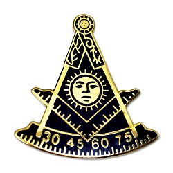 Past Master Masonic Lapel Pin - [Blue & Gold][1'' Tall]
