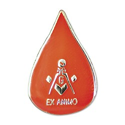 Ex Animo Masonic Lapel Pin - [Red & Gold][3/4'' Tall]