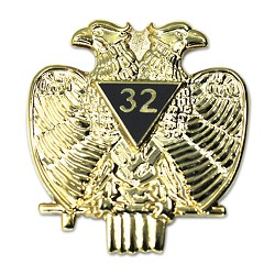 "32nd Degree Double Headed Eagle Scottish Rite Gold Lapel Pin - 1 1/4"" Tall"