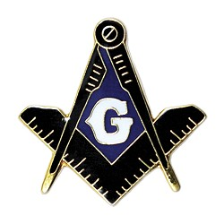 Square & Compass Masonic Lapel Pin - [Black & Gold][7/8'' Tall]
