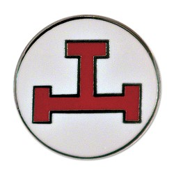 "Royal Arch Triple Tau Round Masonic Lapel Pin - [Red & White][1"" Diameter]"