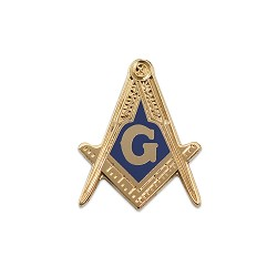 Square & Compass Masonic Lapel Pin - [Gold & Blue][1'' Tall]