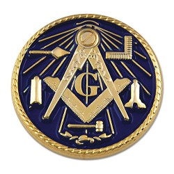 Working Tools Square & Compass Round Masonic Lapel Pin - [Blue & Gold][1'' Diameter]