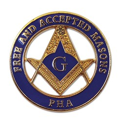 "Prince Hall Free & Accepted Masons Round Masonic Lapel Pin - [Blue & Gold][1"" Diameter]"