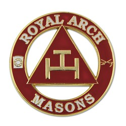 "Royal Arch Masons Round Masonic Lapel Pin - [Red & Gold][1 1/4"" Diameter]"