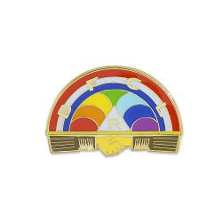 Rainbow Girls Masonic Lapel Pin - [Red & Blue][1'' Wide]