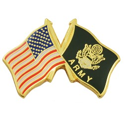 "American Flag & Army Flag Lapel Pin - [Red & Black][1"" Wide]"