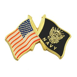 "American Flag & Navy Flag Lapel Pin - [Red & Black][1"" Wide]"