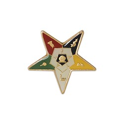 Order of the Eastern Star Masonic Lapel Pin - [Gold & White][1'' Tall]