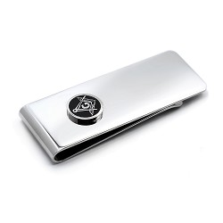 Square & Compass Masonic Money Clip - [Silver][2'' Tall]
