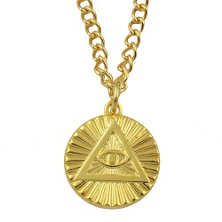All Seeing Eye Masonic Necklace - [Gold][5/8'' Diameter]