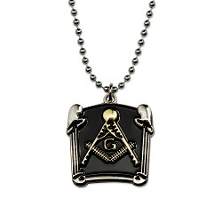 Double Column Square & Compass Masonic Necklace - [Black & Gold][1 1/4'' Tall]