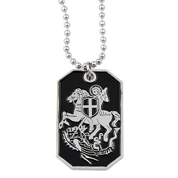 "Knights Templar St. George Slaying Dragon Dog Tag Masonic Necklace - [Black & Silver][1 1/2"" Tall]"