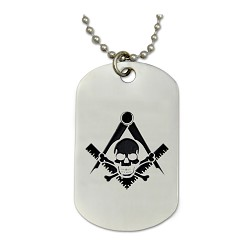 "Engraved Widow's Son Square & Compass Silver Dog Tag Masonic Necklace - [2"" Tall]"