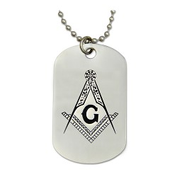 Engraved Square & Compass Dog Tag Masonic Necklace - [Silver][2'' Tall]