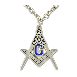 Square & Compass Engraved Masonic Necklace - [Silver & Blue][1 1/2'' Tall]