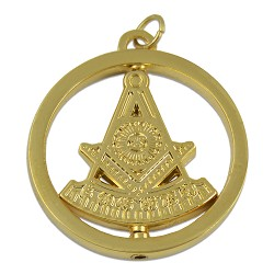 "Past Master Round Masonic Pendant - [Gold][1 1/2"" Diameter]"