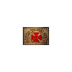 Red Templar Cross Gold Finish Belt Buckle