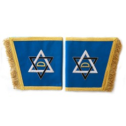 Entwined Triangle Blue & Gold Masonic Gauntlets