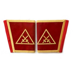 Crossed Swords Red & Gold Masonic Gauntlets