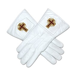 Eminent Commander Masonic Leather Gloves - [White]
