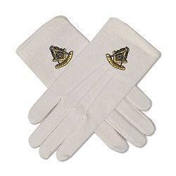 Past Master Hand Embroidered Cotton Masonic White Gloves