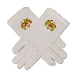 32nd Degree Scottish Rite Masonic Embroidered Cotton Gloves - [White]